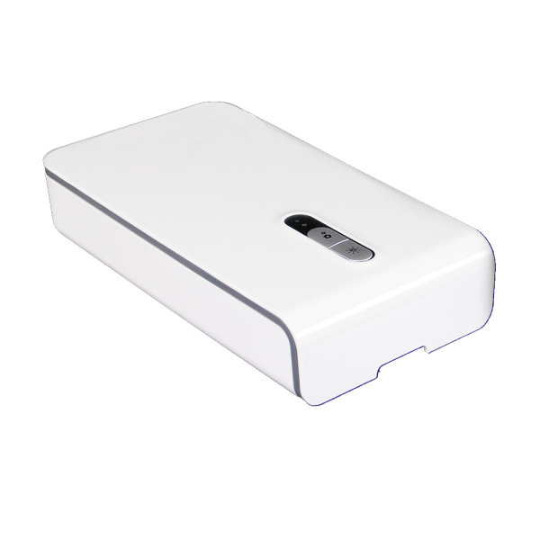 LED21 Přenosné germicidní pouzdro s UV-C sterilizační lampou a bezdrátovou nabíječkou, bílé